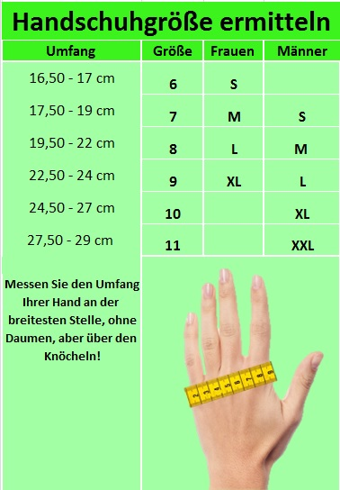 Handschuhgröße ermitteln